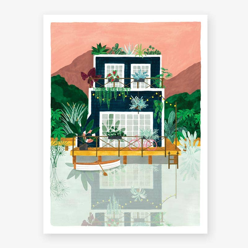 Lakehouse Cabin Small Art Print