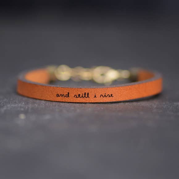 And Still I Rise Inspirational Leather Bracelet