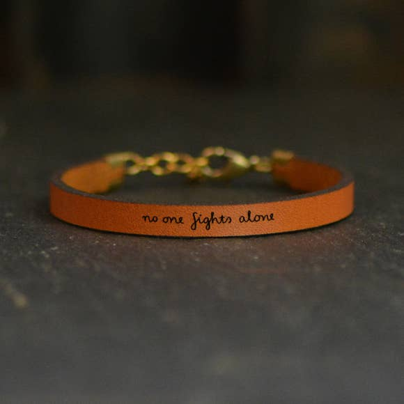 No One Fights Alone Inspirational Leather Bracelet 9 Inch