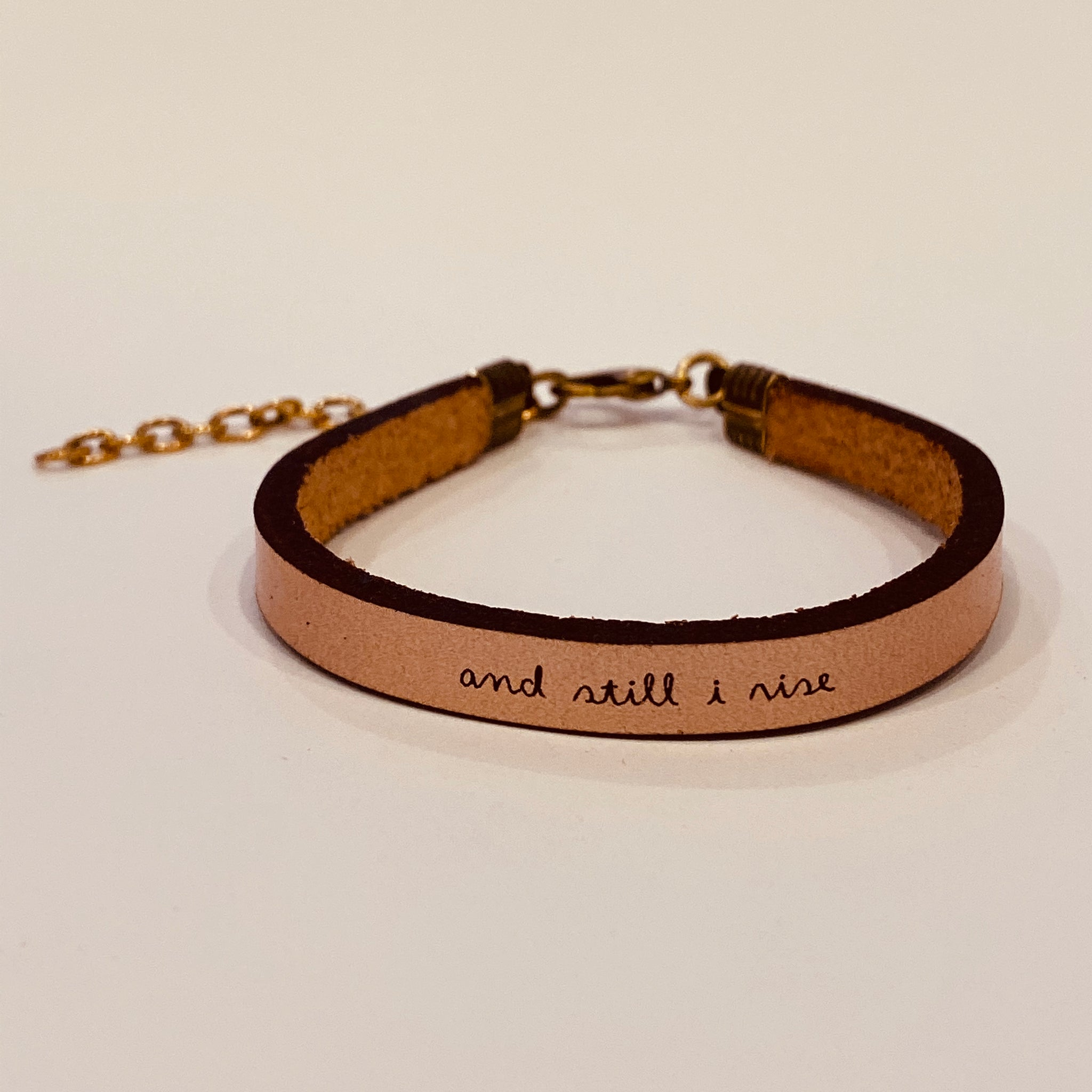 And Still I Rise Inspirational Rose Metallic Leather Bracelet