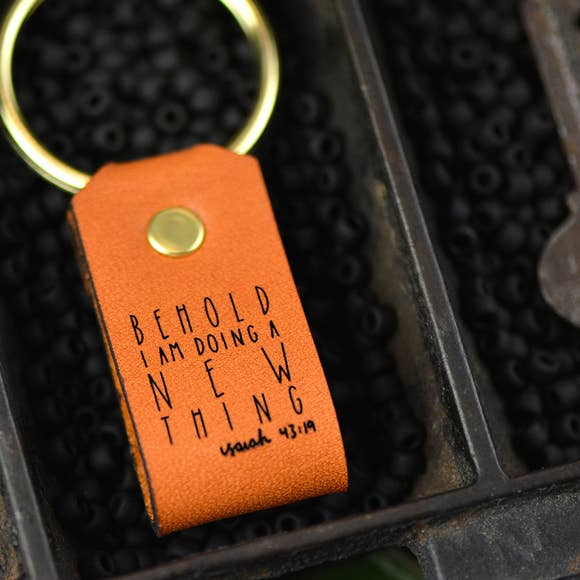 Behold Inspirational Leather Keychain