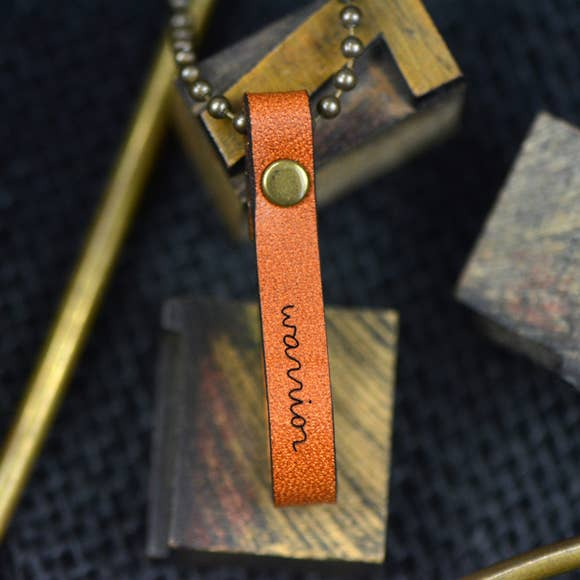 Warrior Inspirational Leather Necklace