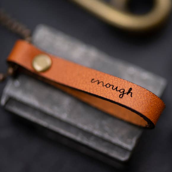 Enough Inspirational Leather Necklace