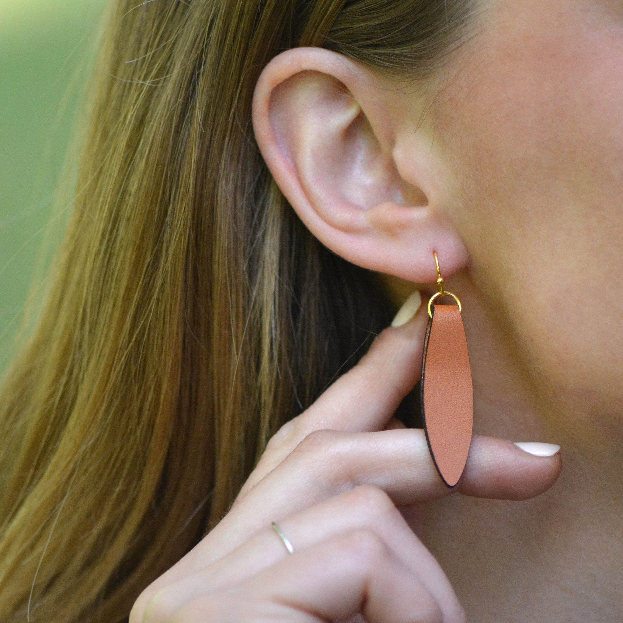 Brown Fold Over Leather Earrings