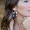 Black Fold Over Leather Earrings