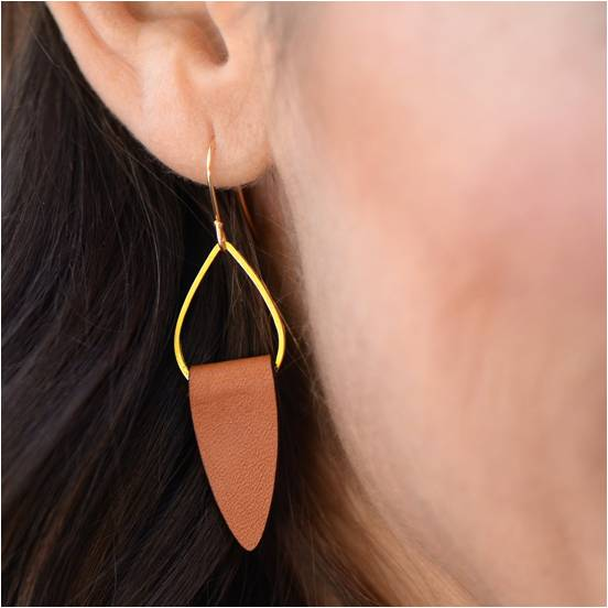 Gold and Leather Earrings