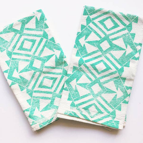Mint Green Geometric Dinner Napkin