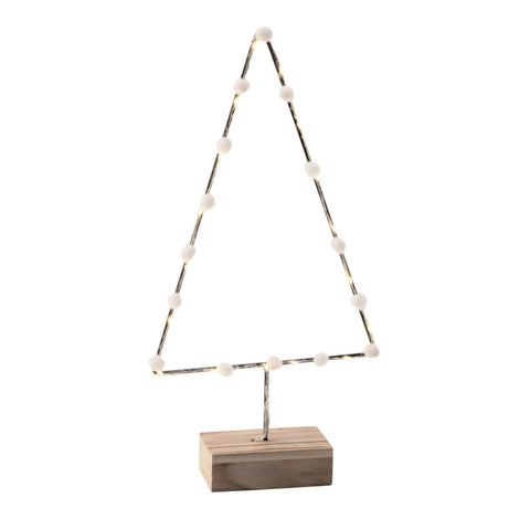 Metal Tree Silhouette with Wood Base and LED Lights