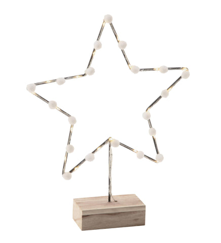 Metal Star Silhouette with Wood Base and LED Lights