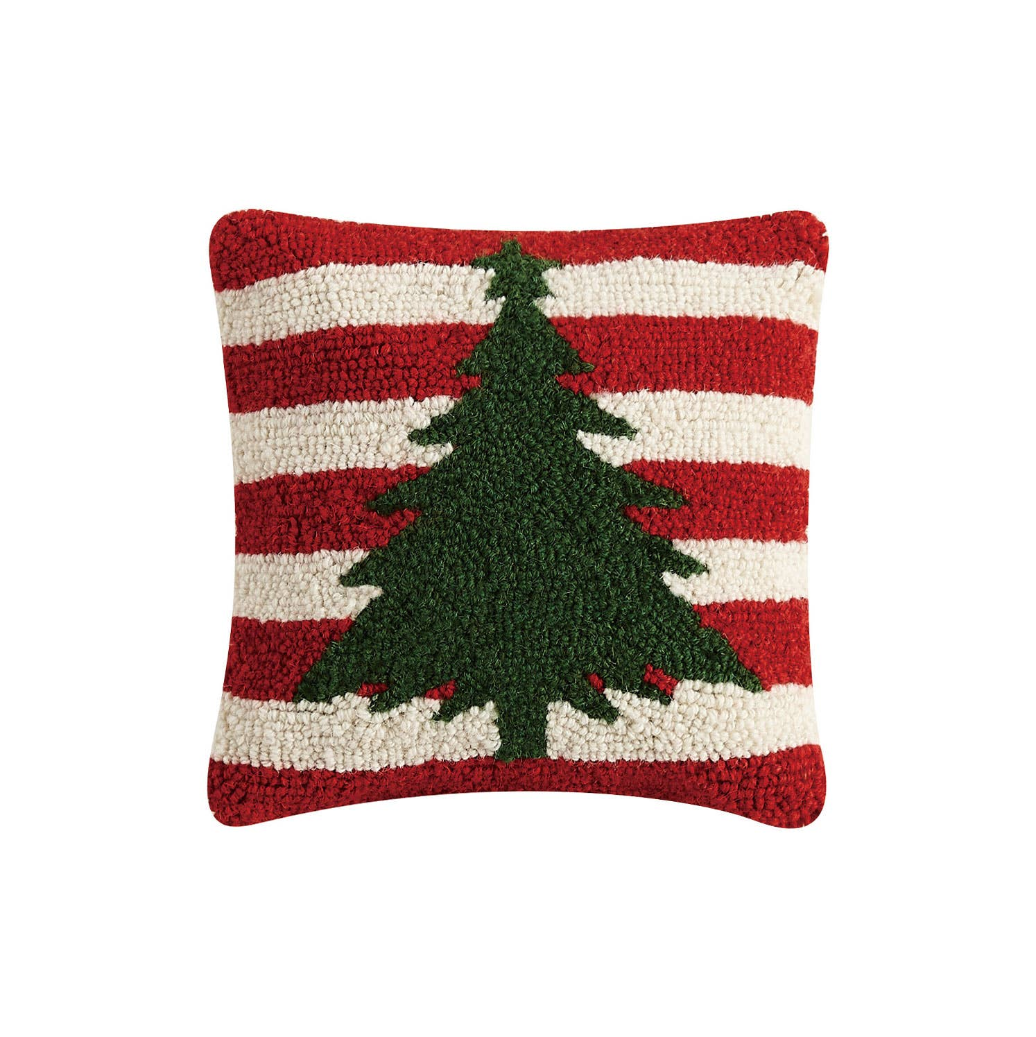 Christmas Tree with Red and White Stripes Hook Pillow