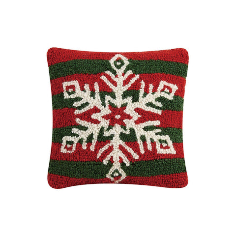 Snowflake with Red and Green Stripes Hook Pillow