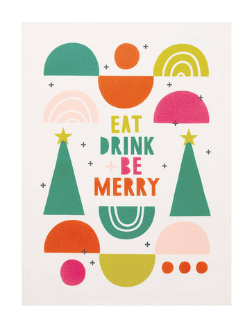 Eat Drink and Be Merry Kitchen Christmas Towel