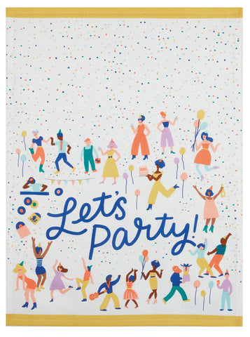 Let's Party Hand Screened Kitchen Tea Towel