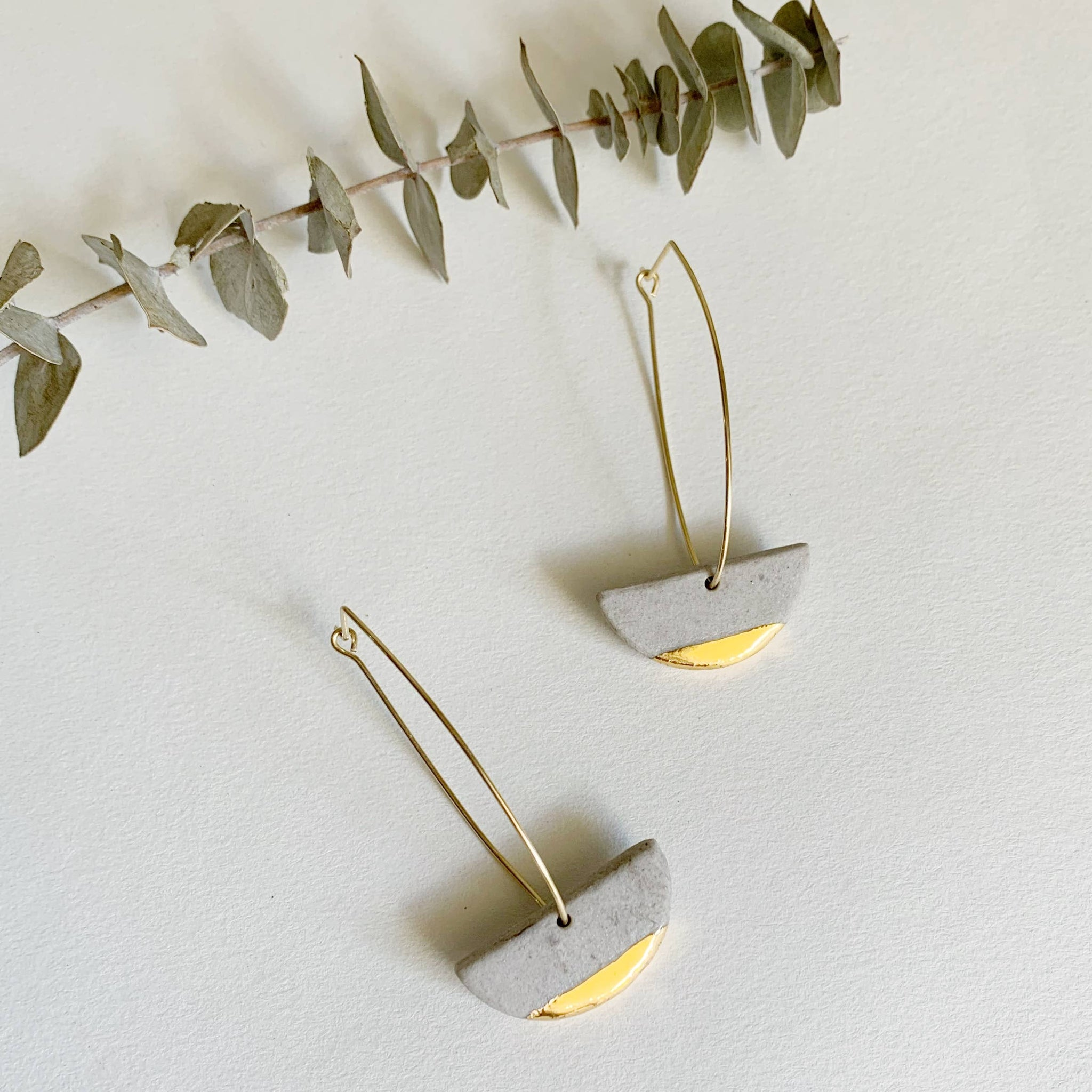 Gold and Gray Arc Earrings