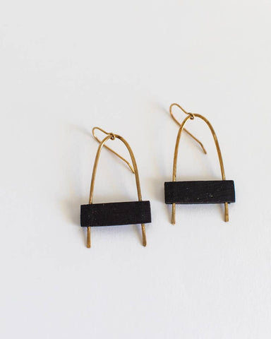Gold Brass and Black Arch Earrings