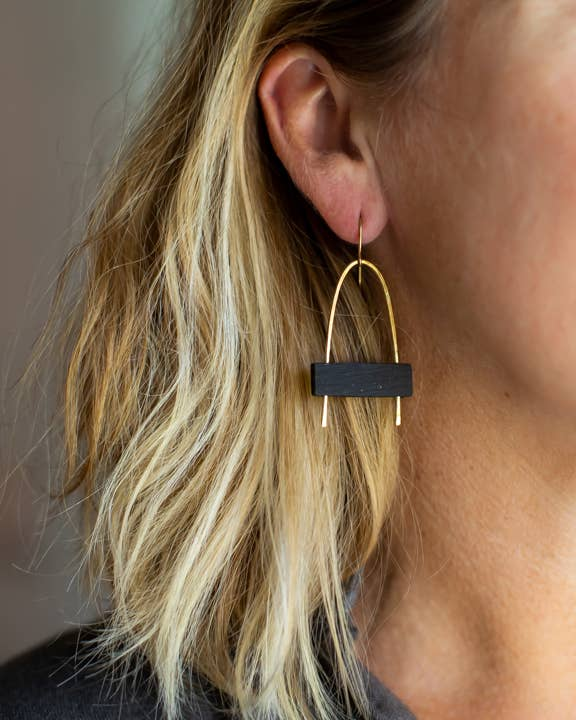 Gold and Black Arch Earrings