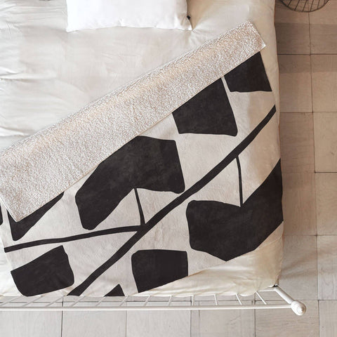 Modern Black Graphic Fleece Throw by Modern Ornament
