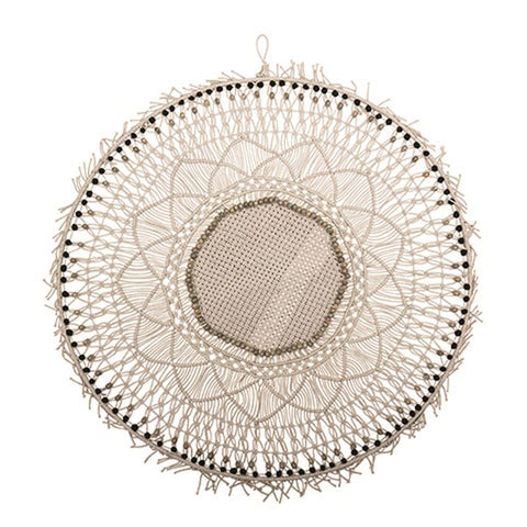 Round Macrame Wall Hanging with Wood Beads