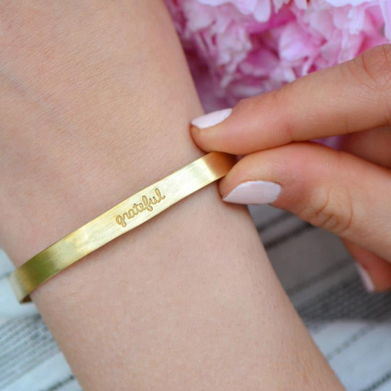 Grateful Inspirational Metal Bracelet