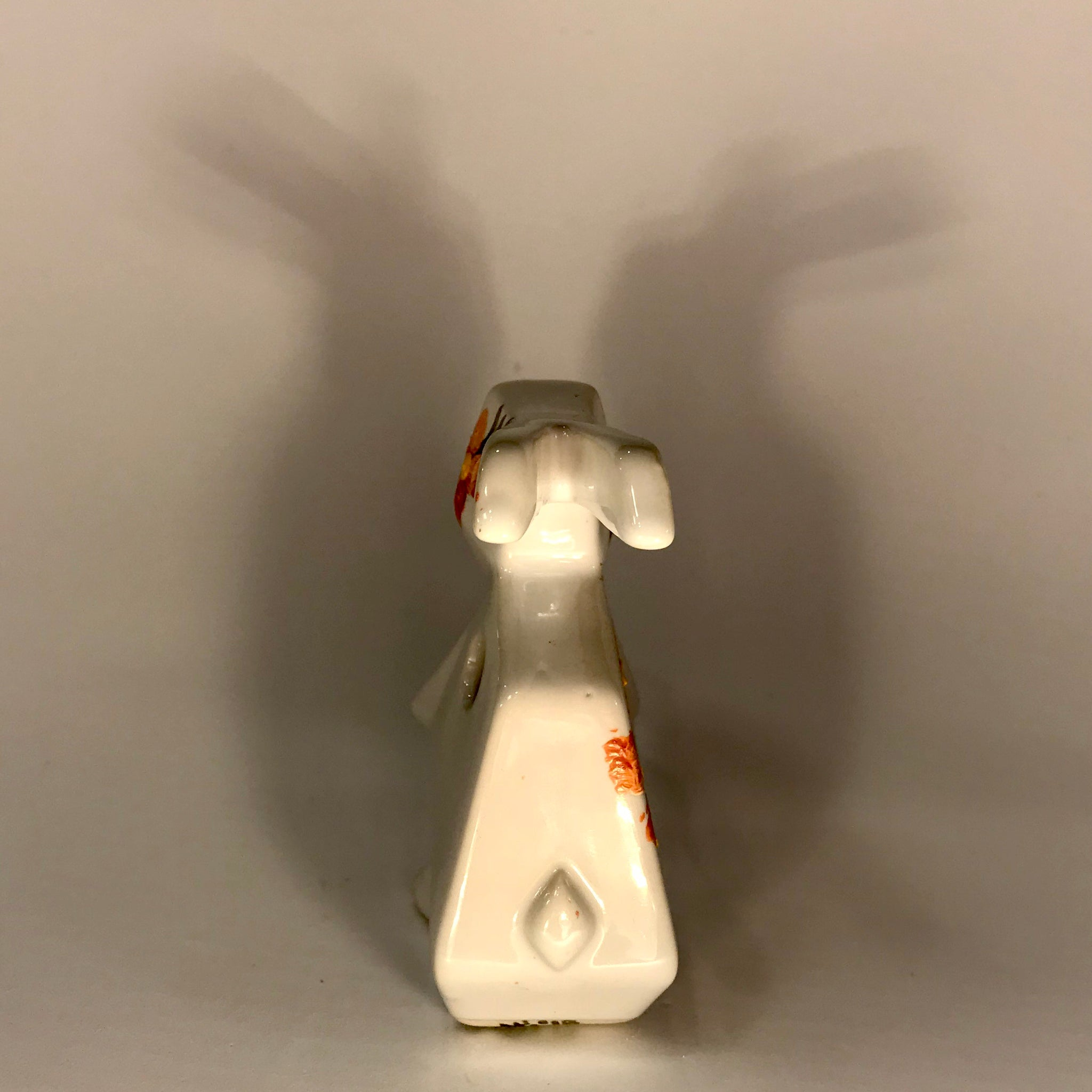 White and Orange Rabbit Handpainted Vase