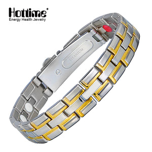 Hottime Male Bracelet Health Energy Bracelet Charm Black Titanium Magnetic Therapy Bracelets Bangle Unique Wristband Jewelry 10075