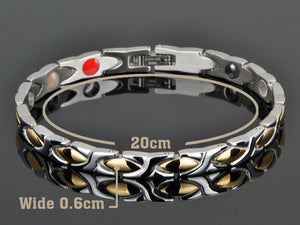 Hottime Women Germanium  Energy Healthy Bracelets&Bangles 316L Stainless Steel Link Chain Bracelet in Health Jewelry