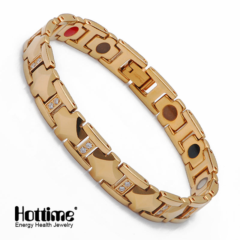 Hottime Jewelry Tungsten Magnetic Bracelet For Women Gold Color Health Infrared Germanium Tourmaline Negative Ion Bracelets Bangles  10077