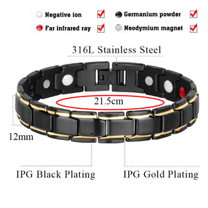Hottime Men Women Healthy Magnetic Bracelet Titanium Steel Power Therapy Magnets Bangles Lovers Gift 10087