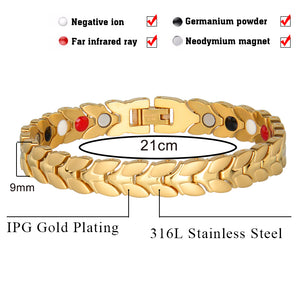 Hottime  Men Chain Link Gold-color Stainless Steel Health Bio Energy  Magnetic Bracelets Bangles for Men Jewelry 10107