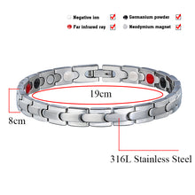 Hottime 316L Stainless Steel Magnet Germanium Energy Bangle Bracelet with Magnetic silver color Men's Jewelry 10119