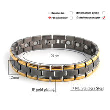 Hottime Stainless Steel Bracelet Mens Black Gold-color Health Energy Magnetic Chain Link Bracelets Bangles for Men Jewelry 10120