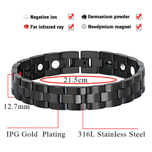 Hottime Bio Elements Health Care Bracelet Black Stainless Steel Energy Bracelets Bangles With Magnet Negative ion Germanium Far infrared 10131