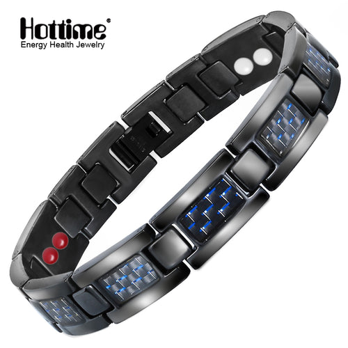 Hottime Carbon Fiber Power Magnetic Men Bracelets Black Titanium Germanium Power Energy Therapy Jewelry 10129