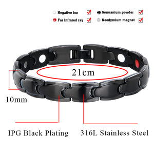 Hottime 10MMM Magnetic Therapy Bracelet For Men Jewelry Pain Relief Arthritis Stainless Steel Health Energy Care Jewelry 10132