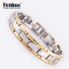 Hottime healthy magnetic germanium bracelets & bangles stainless steel body care men bracelet bangles for fashion jewelry 10137