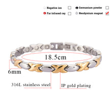 Hottime Women Jewelry Stainless Steel Healing Magnetic Healthy Energy Bracelet For Women Accessory Silver Bracelets Bangles 10138