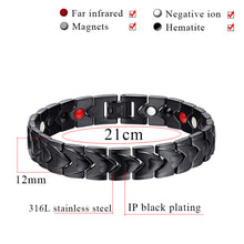 Hottime Healthy Bio Energy Stainless Steel Bracelets & Bangles for Men Silver Color Magnetic Bracelets For Men Jewelry 10260