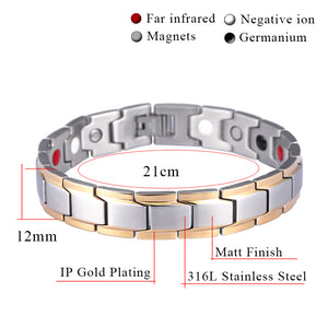 Hottime Health Energy Bracelet Men 316L Stainless Steel Bio Energy Bangles Magnetic Care Bracelets&Bangles 10143