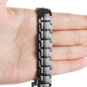 Hottime Health Magnetic Bracelets Bangles Wide Pure Titanium Hand Chain Link Energy Germanium Bracelet Men Fashion Jewelry 10212