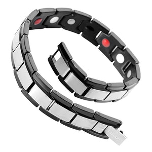 Hottime Healthy magnetic germanium powder health bracelets & bangles stainless steel body care IPG black bracelet men 10150