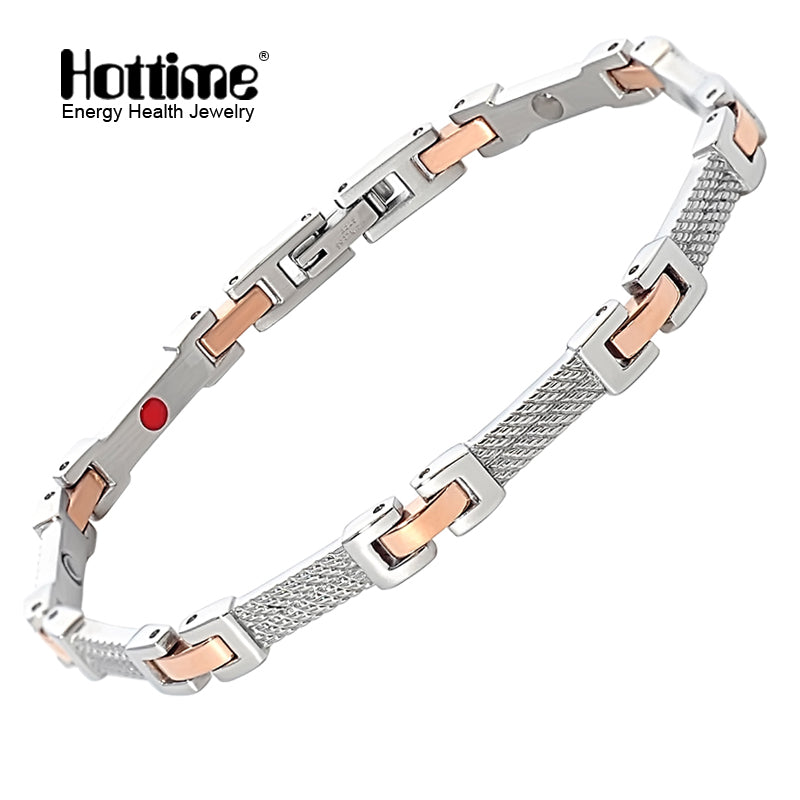 Hottime  men&women stainless steel power energy health bracelet 4 in 1 magnetic germanium benefit healthy bracelet 10154