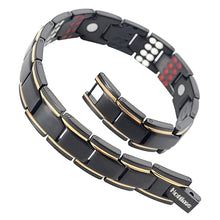Hottime  Mens 4 Element Black Double Row Magnetic Therapy Bracelets Bangles with Magnet Negative ions Germanium Infrared for Male 10155