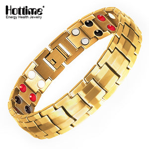 Hottime Double Strength 4 In 1 Bio Elements 316L Stainless Steel Magnetic Health Therapy Care Bracelet & Bangle Pain Relief  10195