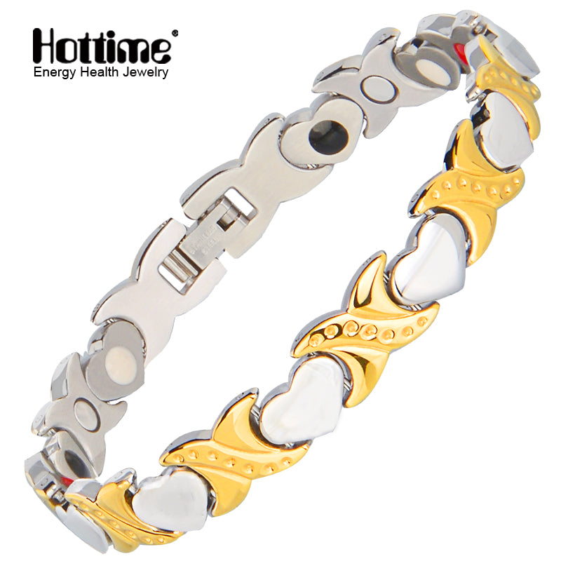 Hottime  Health Energy Bracelet Bangle for Women Stainless Steel Bio Magnetic Bracelets Male Gift Gold Color Adjustable 10201