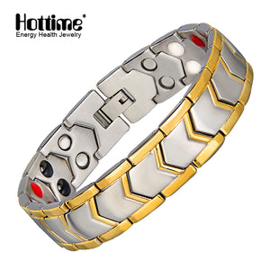 Hottime 316L Stainless Steel Healthy Magnet Care Bracelet For Men Healthy Energy Germanium therapy Bracelets Bangles 10202