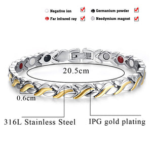 Hottime Fashion Health Magnetic Bracelet Bangle For Woman Stainless Steel Magnet Germanium Health Care Bracelet Hand Chain 10205