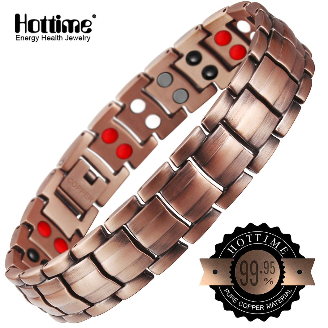 Hottime 4 IN 1 Bio Elements Energy Magnetic Therapy Bracelet 99.95% Pure Copper Jewelry
