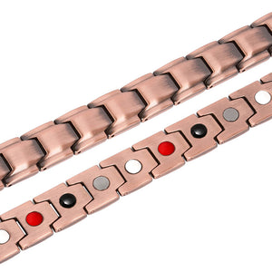 Hottime 4 IN 1 Bio Elements Energy Magnetic Therapy Bracelet 99.95% Pure Copper Jewelry 10213