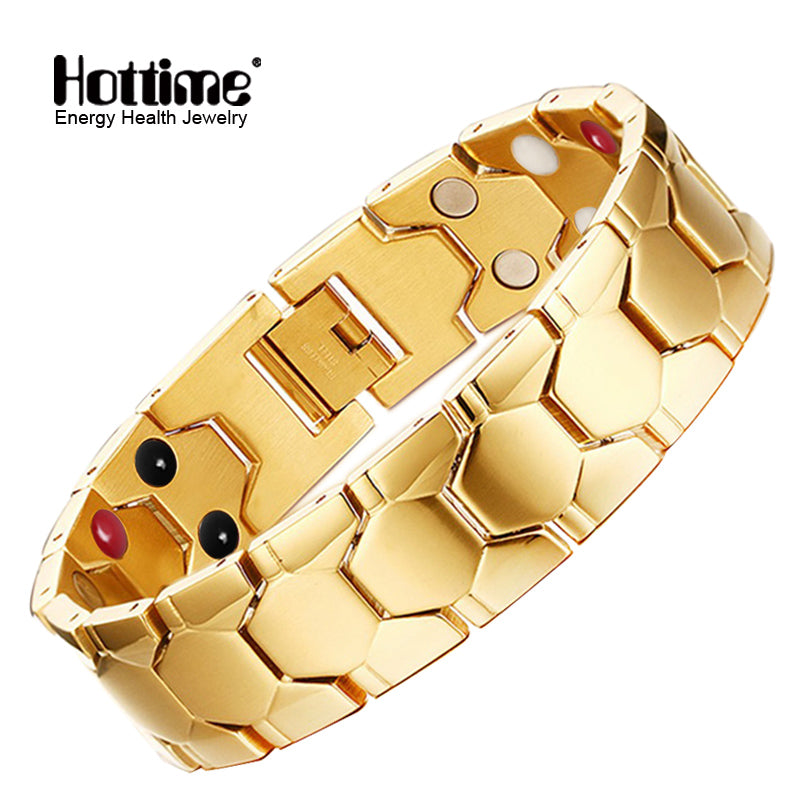 Hottime Health Magnetic Therapy Bracelet Men Jewelry Black 316L Stainless Steel 4 Health Elements Energy Bracelets & Bangles 10239
