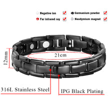 Hottime Men Black Magnetic Bracelets Bangles For Men Stainless Steel Link Chain Fashion Germanium Health Care Jewelry 10240